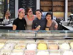 Uli Nasibova (second from right), owner of Gelateria Uli, and her employees