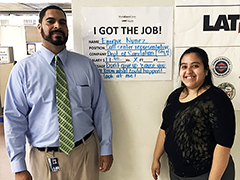 Enrique Nuñez and his LATTC Career Counselor Jessica Fuentes