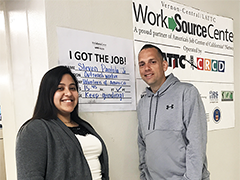 LATTC Career Coach Jessica Fuentes helped veteran Steven Pantola find a rewarding job