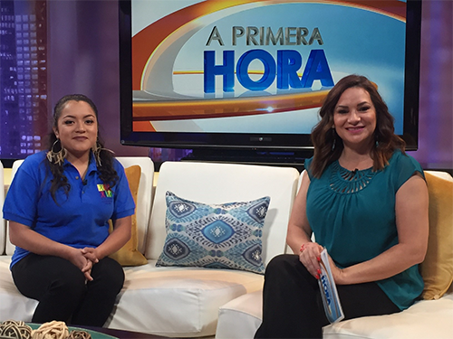 "Para Los Ninos YWS success story Damaris Flores next to ""A Primera Hora"" host Cecilia Bogran"