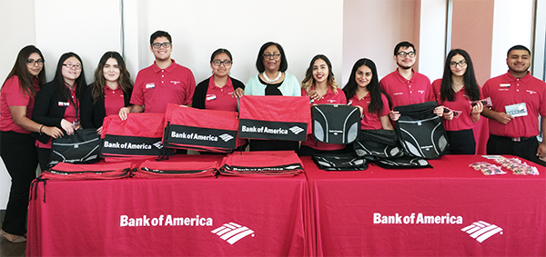 EWDD General Manager Jan Perry (center) with the Bank of America interns at the USC University Village grand opening event