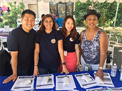 EWDD Youth Staff members Chang Kim, Karina Henriquez, Elis Lee and Brenda Anderson at the Central Avenue Jazz Festival