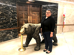 P3 Ambassador Destiny Nguyen with the California Grizzly Bear at the state capitol