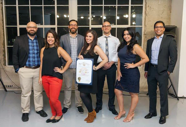 The Fashion Incubator team, Grid 110, receiving recognition as a Talent Cultivator at 2017 Los Angeles Tech Week