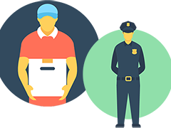 North Valley WorkSource Center Helps Job Seekers (clip art of a package handler and a security guard)