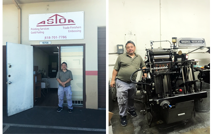 Salvador Najarro outside his Northridge business, Astor Printing; Mr Najarro next to his company's printing equipment