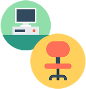 office computer and chair icons
