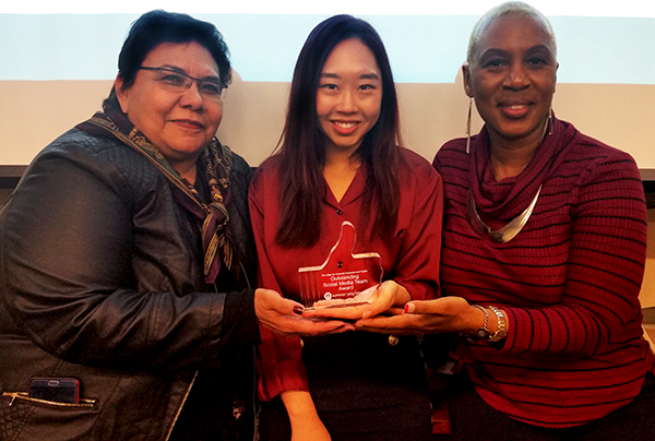 (Left to Right) Nancy Herrera, Elis Lee and Brenda Anderson celebrated of EWDD's Youth Operations Team accepted an Outstanding Social Media Team award from CFE