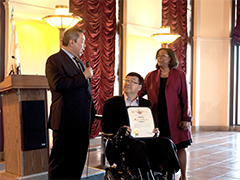 WDB member and Bank of America Senior Vice President Garrett Gin (left) speaks to City of LA Workforce Development Chair Charlie Woo and EWDD General Manager Jan Perry at the inaugural Hire LA's Youth Heroes reception at LA City Hall