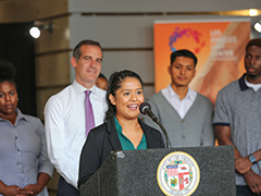 A former Hire LA's Youth Program participant speaks about her summer employment experience at Los Angeles City Mayor Eric Garcetti's 2018 Hire LA'S Youth kick-off event