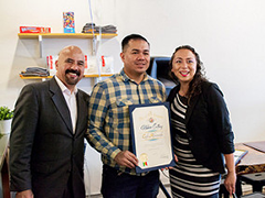 The West Valley BSC helped entrepreneur Reggie Cua (center) launches his business Café Aficionado in Northridge, CA