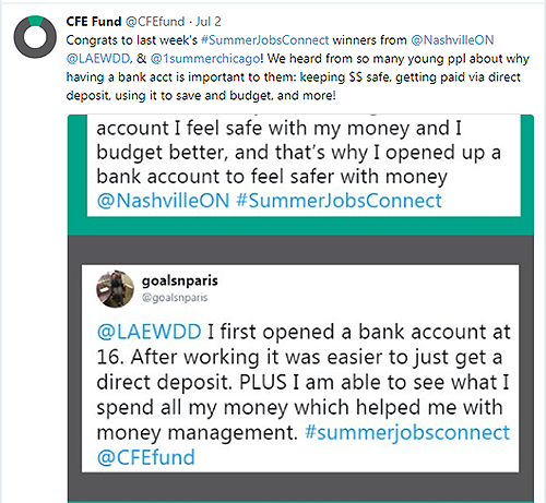 @CFEfund July 2, 2018 tweet about their #SummerJobsConnect campaign to raise financial awareness and skills in today's youth