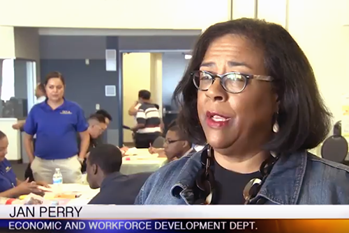 EWDD General Manager Jan Perry being interviewed during an on camera interview with Channel 35 regarding  the importance of the Hire LA'S Youth program