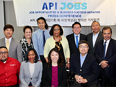 (Center, second row) EWDD General Manager Jan Perry and WDB Chair Charlie Woo (center right, first row) promoted the City's job programs at a press conference geared toward LA's Asian Pacific Islander community