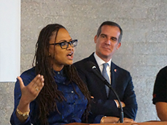 Filmmaker Ava DuVernay (left) appeared with LA Mayor Eric Garcetti to announce the Evolve Entertainment Fund, a program to help youth gain opportunities at leading digital media and entertainment companies