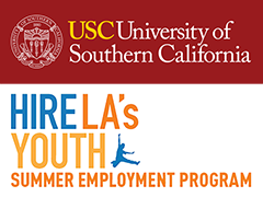 University of Southern California (USC) logo with the Hire LA's Youth logo