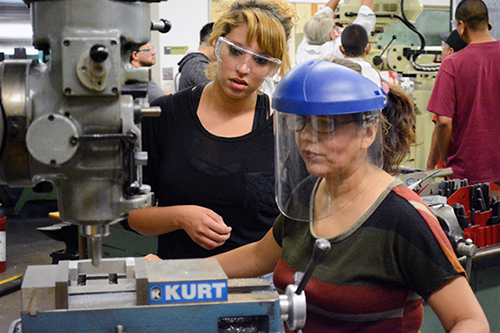 Jessica Lotka (right) getting hands-on training in class at the LAVC Manufacturing Academy, summer of 2017