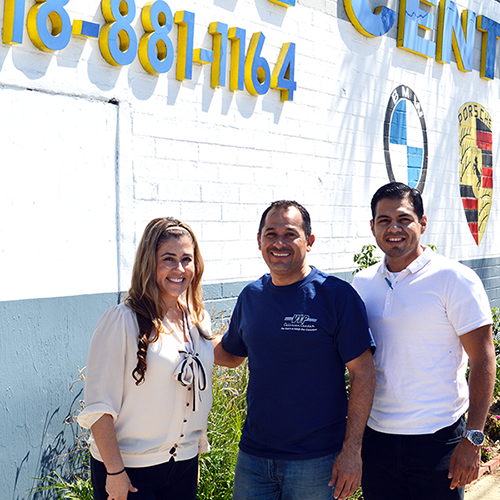 VIP Collision owner Jesus Rodriguez (center) has worked closely with the South Valley BusinessSource Center to open and grow his business. The South Valley BSC recently helped Jesus secure a loan to expand in Canoga Park.