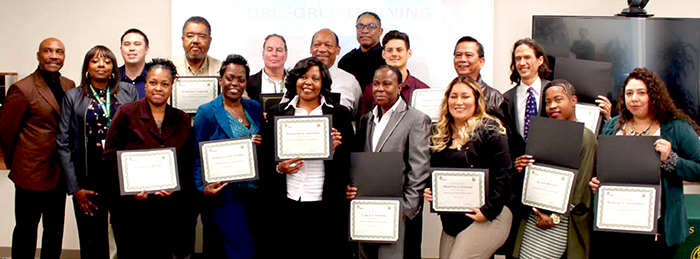 Fifteen individuals recently graduated from the Los Angeles Valley College Metro Bridge Academy, a training program that prepares them to become bus drivers