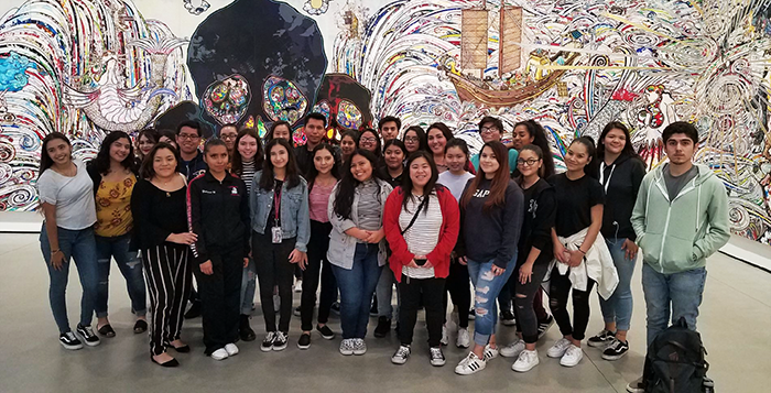 Para Los Niños YouthSource students get a mental break at LA's Broad Museum of Contemporary Art as college application deadlines approach