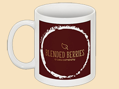 Los Angeles based Blended Berries Tea logo on a coffee cup