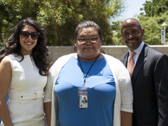 (left to right) Citi Vice President Laura Peralta, HIRE LA's Youth participant Destiny Nguyen and EWDD Interim General Manager John L Reamer Junior