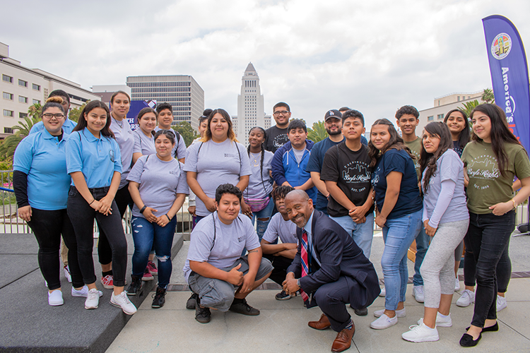 EWDD Interim General Manager John L Reamer Junior gathers with participants from the Boyle Heights Technology, CRCD, YoWatts and El Proyecto YouthSource Centers at the Youth@Work press conference June 26, 2019