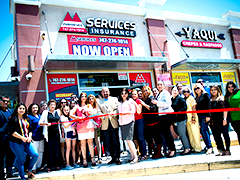Long-term North Valley BusinessSource Center client Mariana Ospital at the grand opening of her third business location in Arleta, California