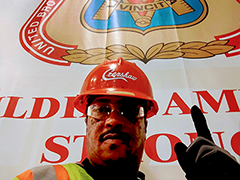 Maurice, a re-entry job seeker, at his job with the Local 721 Southwestern Carpenters Union