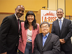 (left to right) EWDD Interim General Manager John L Reamer, Jr, REDF Principal Consultant Strategic Partnerships Vivienne Lee, LA Workforce Development Board Chair Charlie Woo, and EWDD Assistant General Manager Robert Sainz