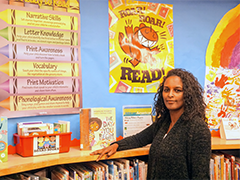 Selam Patterson in the children's book section of the Los Angeles Public Library in South LA