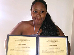Tia Kirk after completing the Computer Operator Clerk program at the East Los Angeles Occupational Center