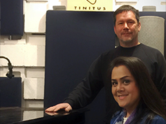 Sound engineers Francois Blaignan and Sirinun Ploadpilew, owners of Tinitus Inc, in their LA studio