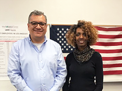 Veteran Caryette Williams-Muhammed (right) receive barista training and full time job placement, with the help of WorkSource Center Career Coach Ernesto Garcia (left)