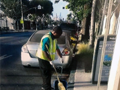 LA:RISE participant Joshua hard at work as part of the CRCD Enterprises Street Team