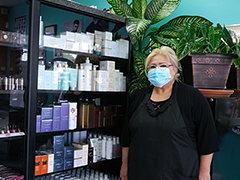 Cecilia Quiroa in her Northridge business, Cecy's Beauty Salon