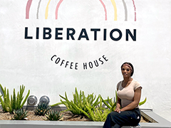 LA:RISE participant Elana outside the Liberation Café at the Los Angeles LGBT Center