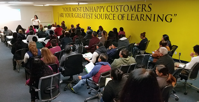 EWDD's Rapid Response team hosting an unemployment orientation for Forever 21 employees laid off following the closure of the Lincoln Heights deployment center