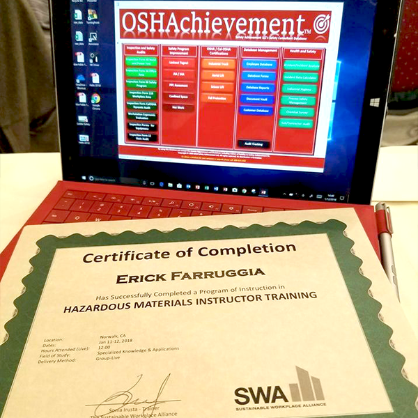 OSHA Achievement Safety Standards Certificate of Completion