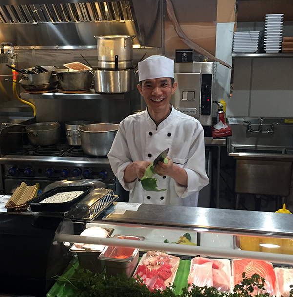 Cun Sang Chi in the kitchen of his restaurant Sushi Beluga in Playa Del Rey