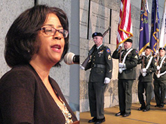 Congressional Gold Medal Comes to LA, May 2013 (left- Jan Perry; right- Color guard from 1st Battalion, 1st Brigade, Regional Support Command, State Military Reserve)
