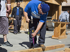 Pedro Mata of Homeboy Industries takes part in a seven-week construction class at Los Angeles Trade Tech College; photo by Maya Sugarman/KPCC