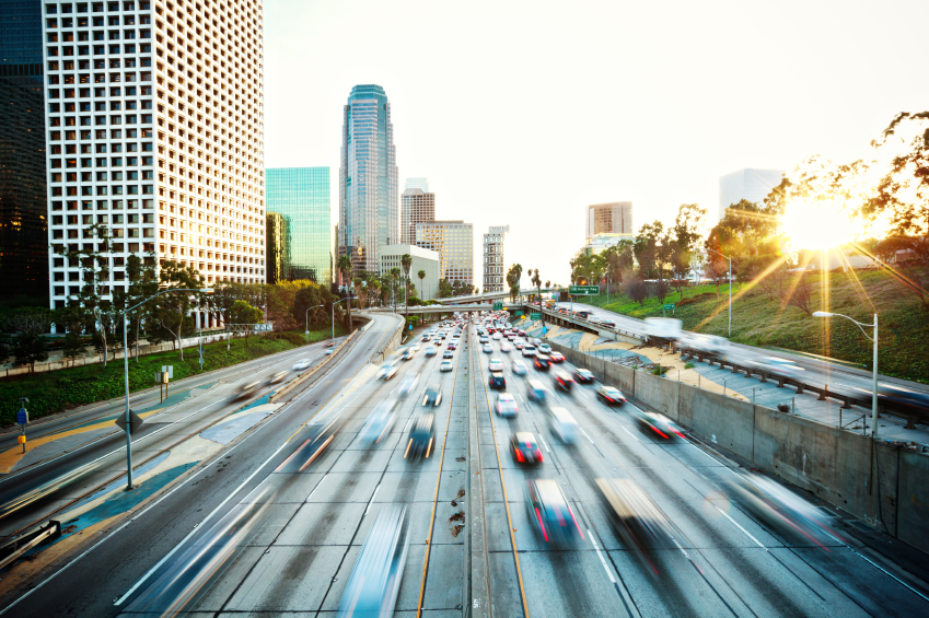 101 Southbound Freeway moving through downtown L.A.