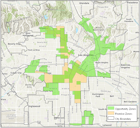 map of the Los Angeles Promise Zones in the boundaries of LA City from the LA Department of City Planning arcGIS tool