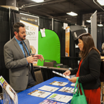 EWDD Industrial Commercial Finance Officer Alex Lakshtanov (left) shares information about Financing Programs at the Small Business Expo on Wednesday October 30, 2019