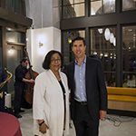 "EWDD General Manager Jan Perry (center) with Jordan Pynes (right), President of Thomas Safran & Associates, at ""Delicious at the Dunbar"" grand opening celebration on November 8, 2018"