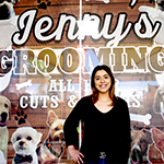 "Jenny Zamora at the grand opening of her business ""Jenny's Dog Grooming"" in Panorama City on January 31, 2020"