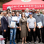 LA City CD7 Councilwoman Monica Rodriguez (center) hosted a culmination ceremony honoring the 2017 Wildfires National Dislocated Worker Grant (NDWG) workers; EWDD Interim General Manager John L. Reamer (far left) gave the keynote speech
