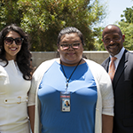 (left to right) Citi Vice President Laura Peralta, Hire LA's Youth participant Destiny Nguyen and EWDD Interim General Manager John L. Reamer, Jr.