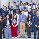 LADWP's 21 Hire LA's Youth interns pose on building steps as they culminate their summer youth employment program